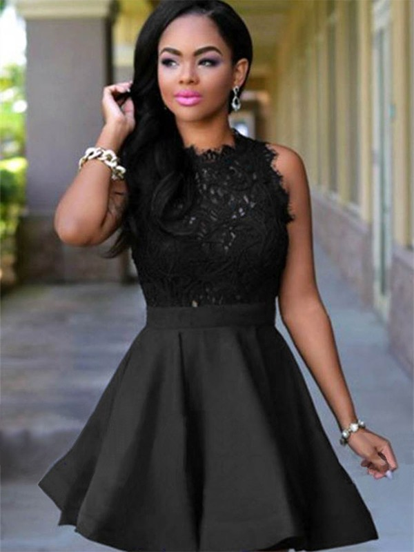 Short With Lace Satin Black Homecoming Dresses