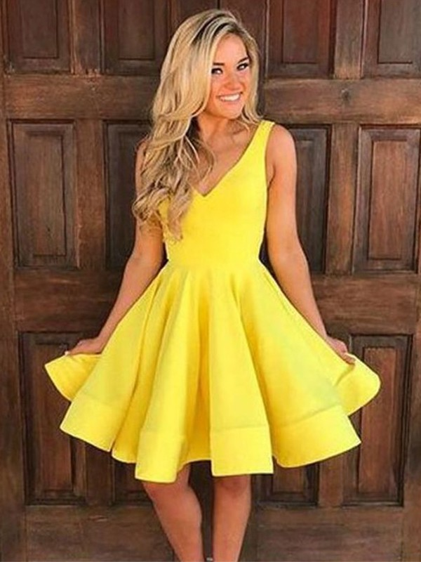 A-Line Straps Satin Ruffles Homecoming Dresses