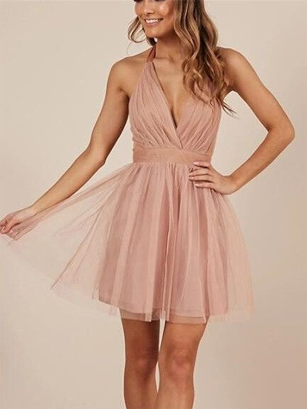 A-Line Halter Tulle Pink Homecoming Dresses