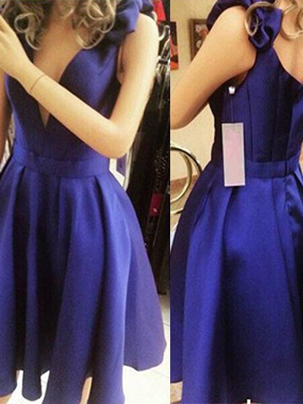 A-Line Blue Satin Bowknot Homecoming Dresses