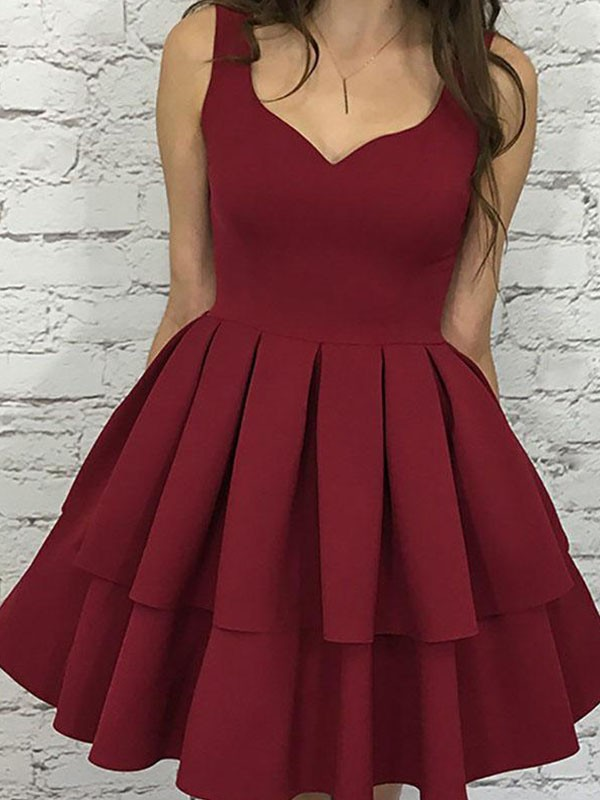 Burgundy Straps Satin Layers Homecoming Dresses