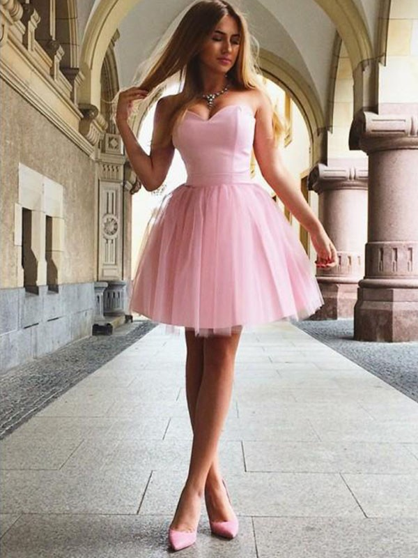 A-Line Sweetheart Pink Satin Homecoming Dresses