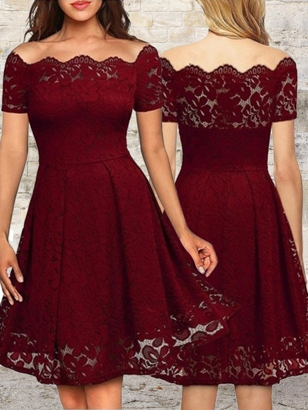 A-Line Lace Burgundy Bateau Homecoming Dresses