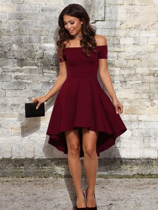 A-Line Elastic Woven Burgundy Satin Homecoming Dresses