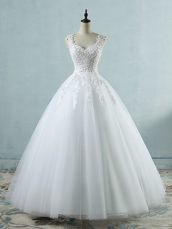Ball Gown White Sweetheart Floor-Length Tulle Wedding Dresses