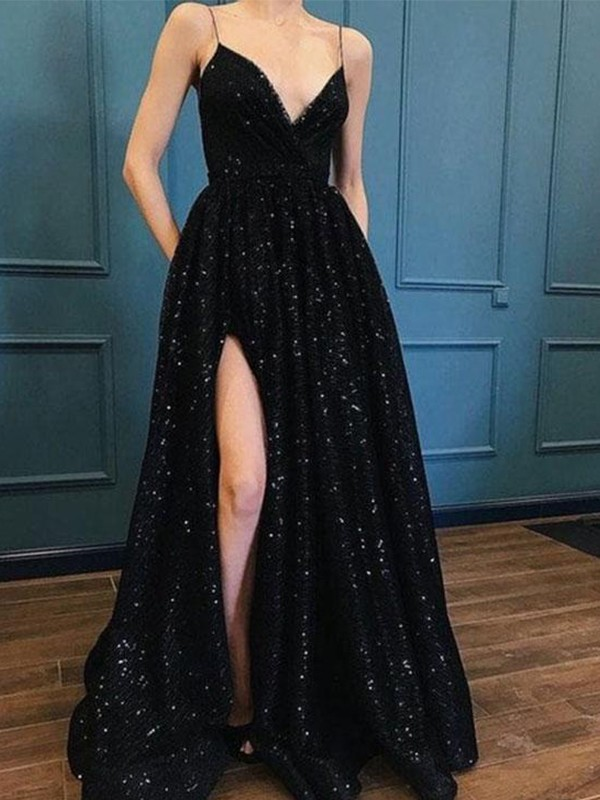 A-Line Black V-neck Brush Train Prom Dresses