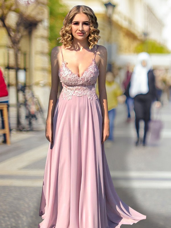 Pink Empire V-neck Lace Brush Train Chiffon Prom Dresses