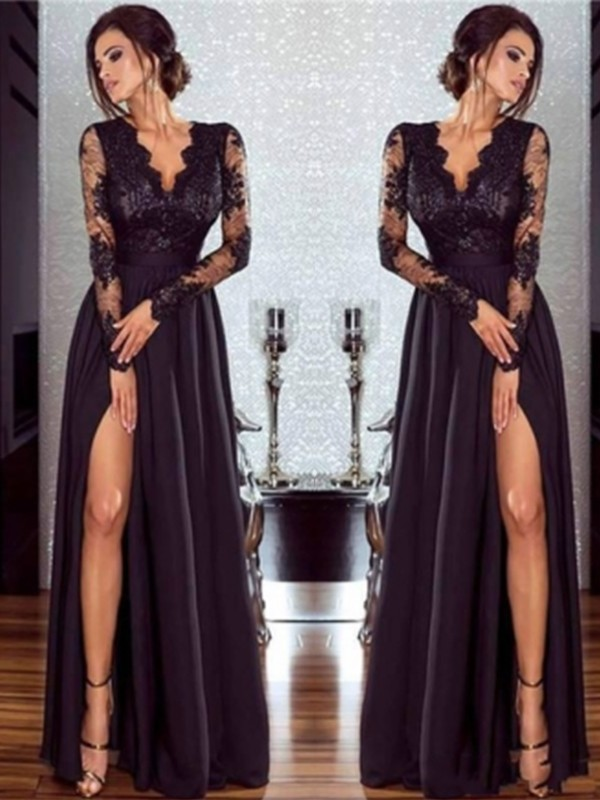 A-Line Black V-neck Floor-Length Chiffon Applique Prom Dresses
