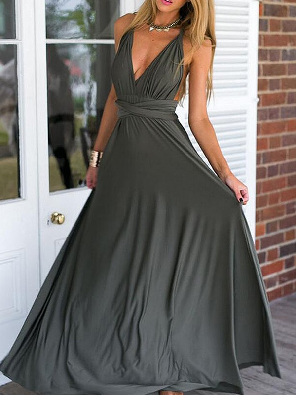 Empire Grey V-neck Floor-Length Chiffon Prom Dresses