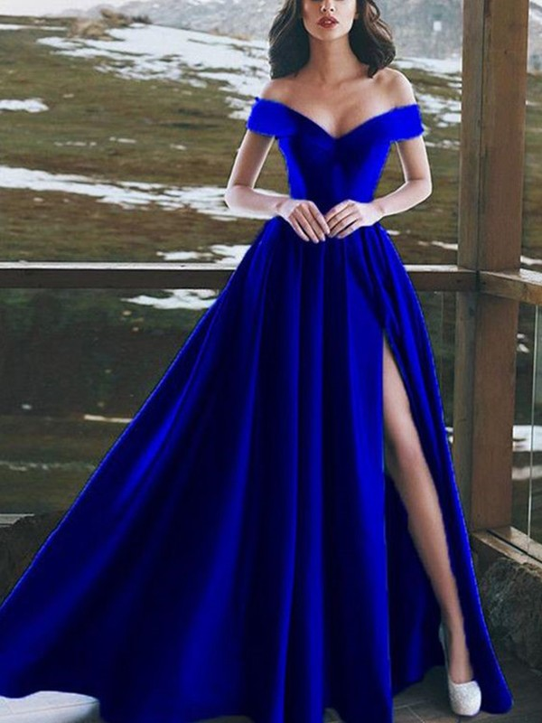 A-Line Royal Blue Floor-Length Ruffles Satin Prom Dresses