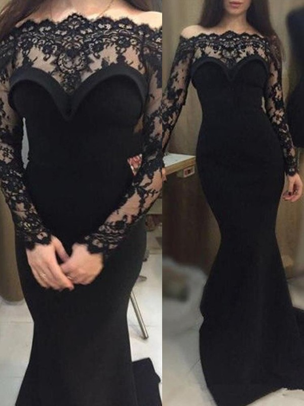 Mermaid Black Off-the-Shoulder Brush Train Prom Dresses