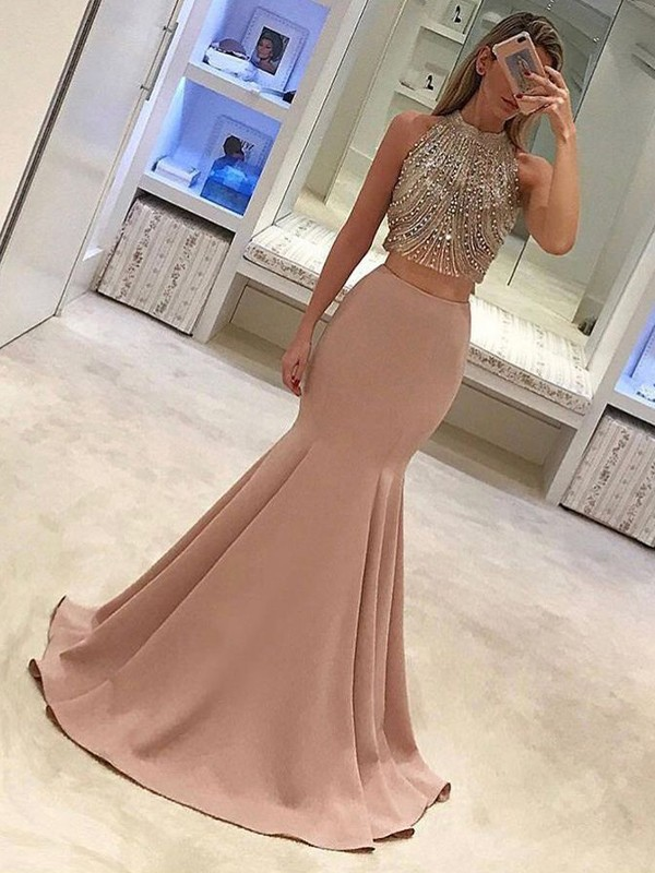 Mermaid Pink Brush Train Beading Satin Two Piece Prom Dresses
