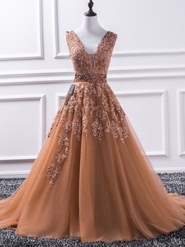 A-Line V-neck Brown Applique Tulle Brush Train Prom Dresses