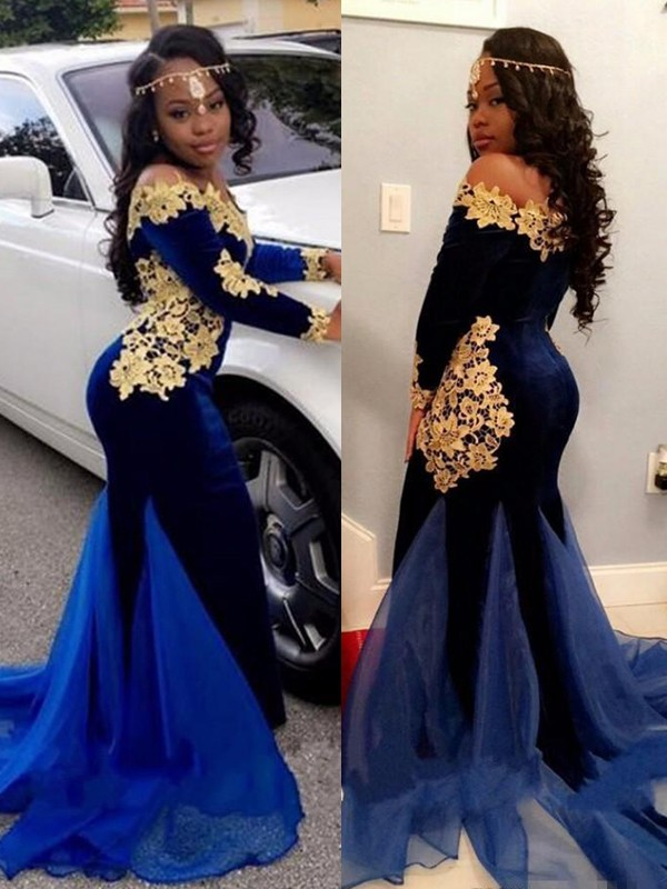 Mermaid Royal Blue Brush Train Applique Velvet Prom Dresses