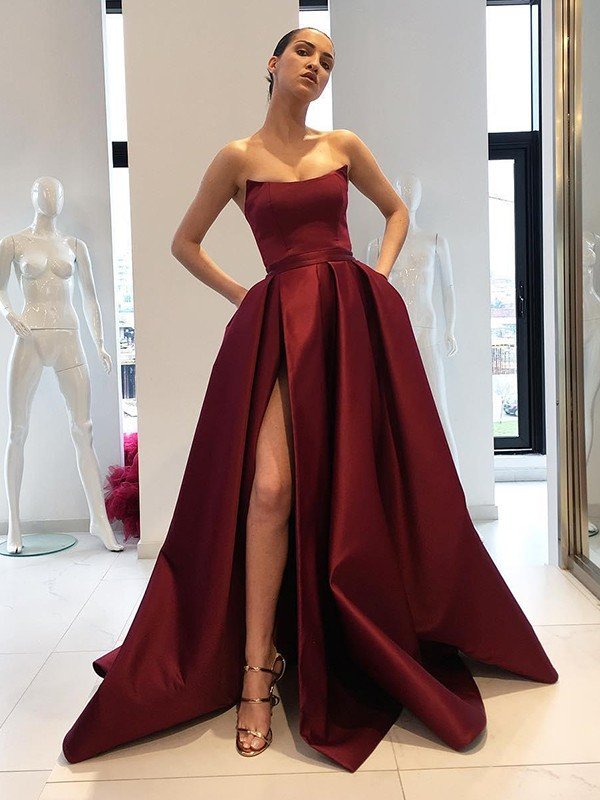 Ball Gown Strapless Brush Train Burgundy Satin Prom Dresses