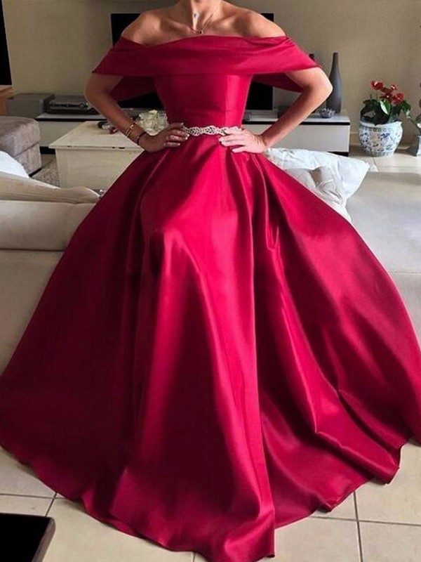 A-Line Off-the-Shoulder Red Long Satin Prom Dresses