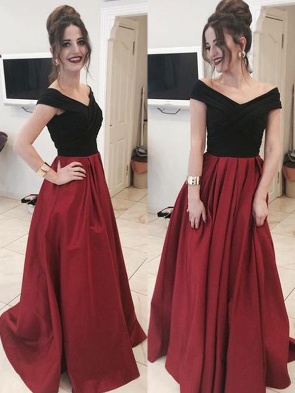 A-Line Off-the-Shoulder Red Brush Train Ruffles Satin Prom Dresses