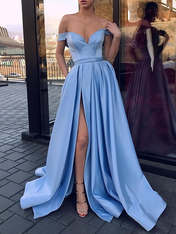 A-Line Light Sky Blue Ruffles Satin Brush Train Prom Dresses