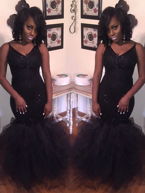 Mermaid V-neck Floor-Length Tulle Black Prom Dresses