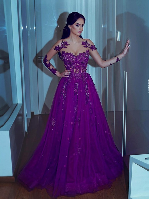 Sheath Long Sleeves Long Grape Organza Prom Dresses