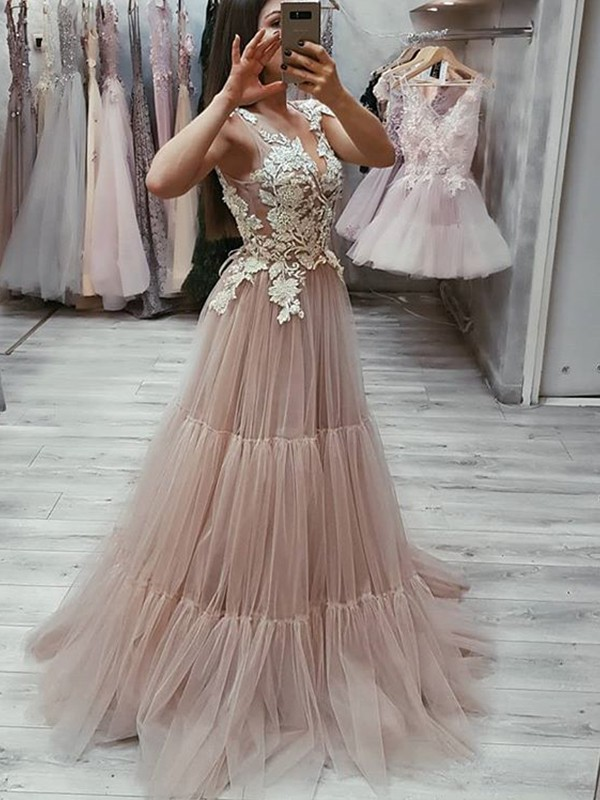 Sheath Sleeveless Brown Tulle Long Prom Dresses