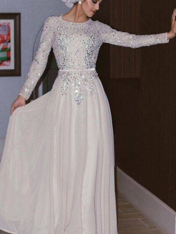 Sheath Long Sleeves White Crystal Chiffon Long Muslim Prom Dresses