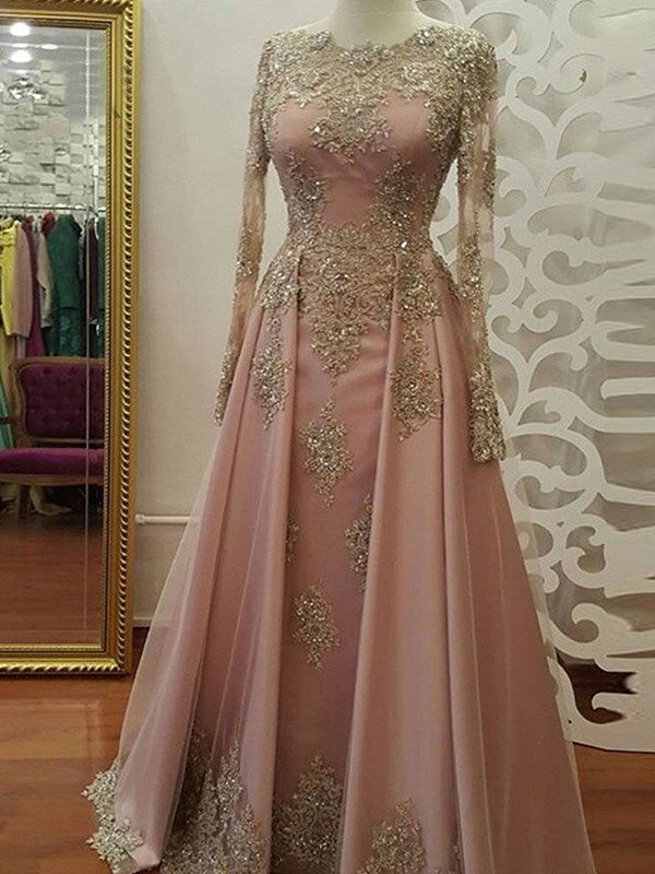 Sheath Long Sleeves Floor-Length Pink Tulle Muslim Prom Dresses
