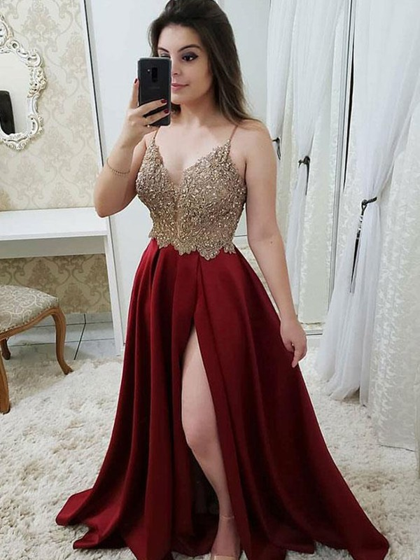 A-Line Straps Burgundy Beading Sweep/Brush Train Satin Prom Dresses