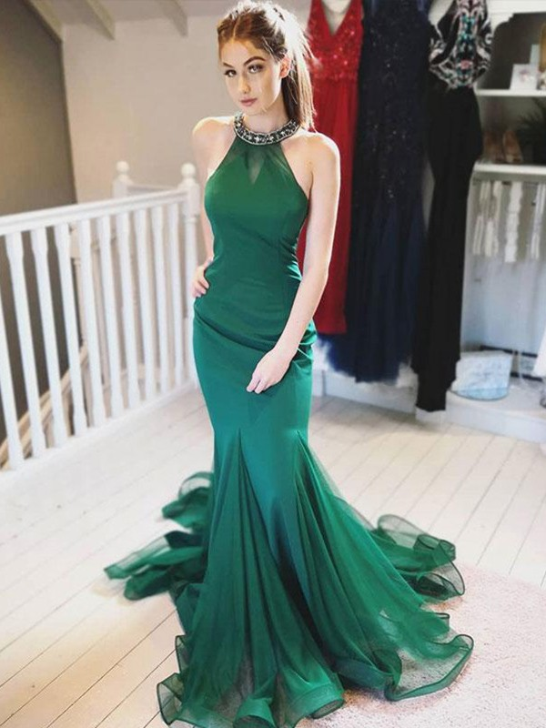 Mermaid Halter Brush Train Ruffles Dark Green Organza Prom Dresses