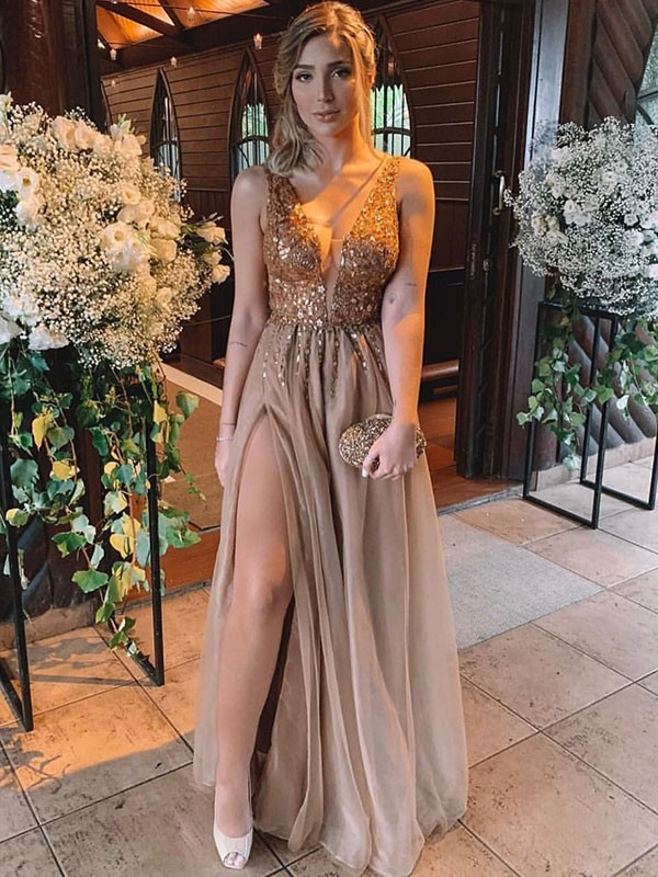 A-Line Brown V-neck Floor-Length Rhinestone Tulle Prom Dresses