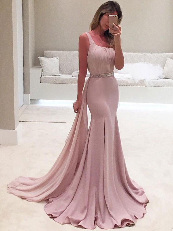 Mermaid One-Shoulder Pink Brush Train Ruffles Chiffon Prom Dresses