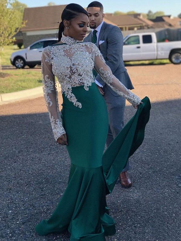 Mermaid Dark Green High Neck Brush Train Satin Prom Dresses