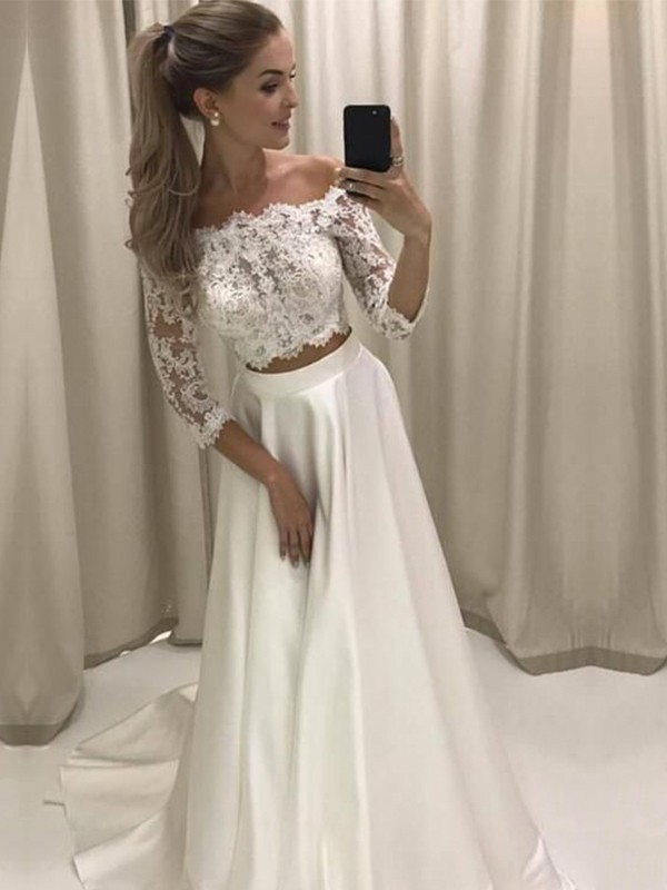 A-Line Off-the-Shoulder Brush Train Lace Satin Wedding Dresses