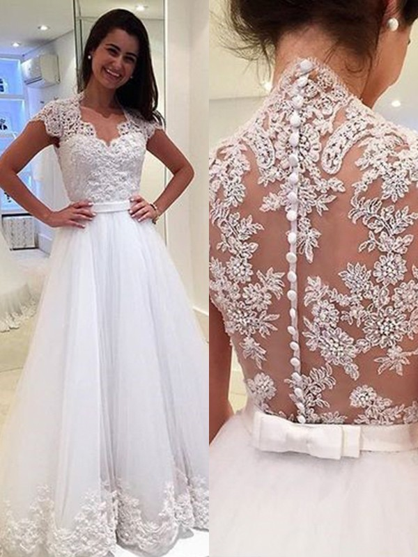 A-Line V-neck Floor-Length Applique Tulle Wedding Dresses