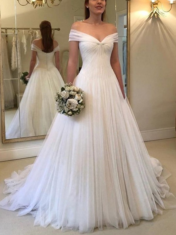 A-Line Off-the-Shoulder Sleeveless Brush Train Tulle Wedding Dresses