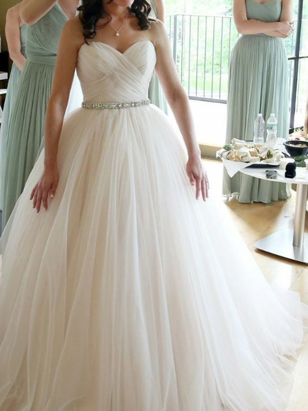 Ball Gown Sweetheart Floor-Length Beading Tulle Wedding Dresses