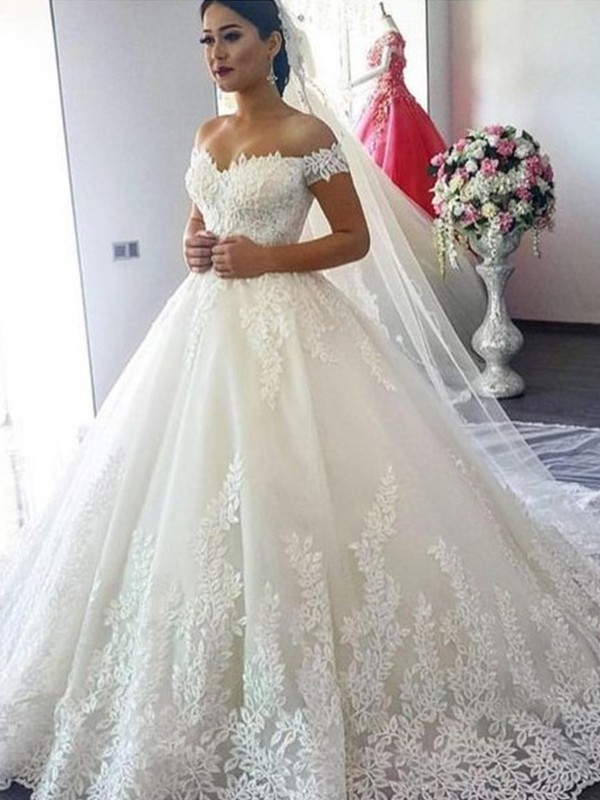 Ball Gown Off-the-Shoulder Brush Train Tulle Wedding Dresses