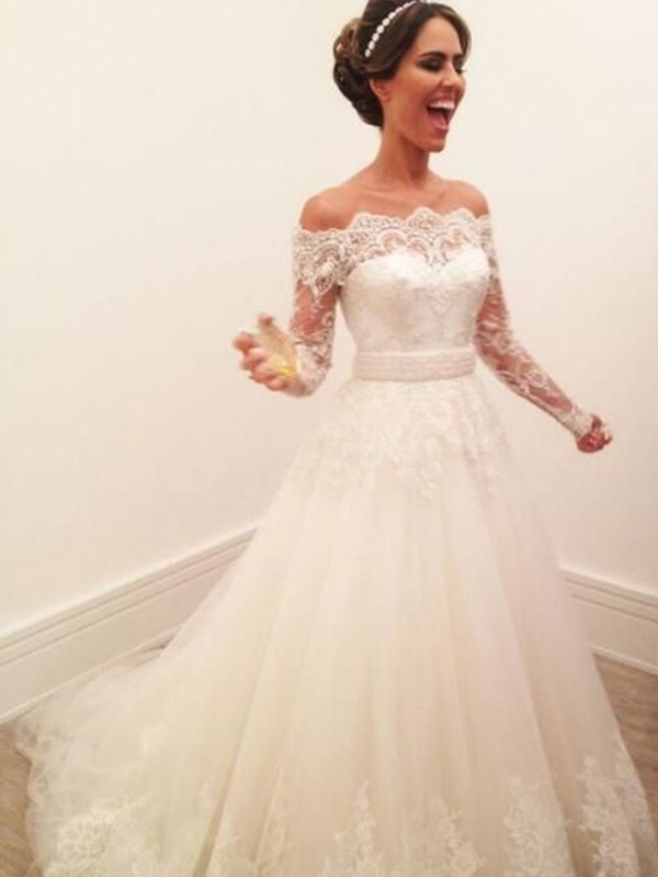 A-Line Off-the-Shoulder Brush Train Lace Tulle Wedding Dresses