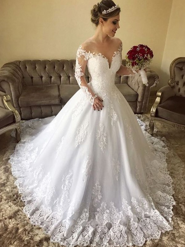 Ball Gown Off-the-Shoulder Long Sleeves Lace Tulle Wedding Dresses