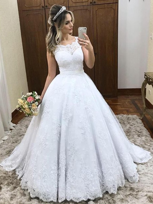 Ball Gown Scoop Brush Train Lace Satin Wedding Dresses