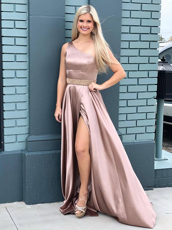 A-Line Satin Beading Sleeveless Brush Train Champagne Prom Dresses