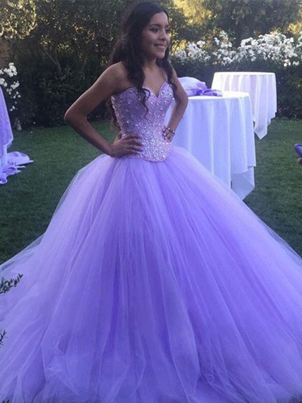 Ball Gown Tulle Beading Sweetheart Brush Train Lilac Prom Dresses