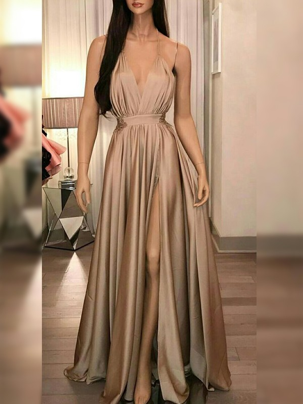 A-Line Satin Ruffles Sleeveless Floor-Length Champagne Prom Dresses