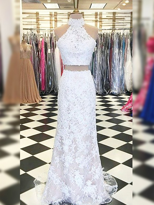 Sheath Lace Applique Halter Brush Train Two Piece White Prom Dresses