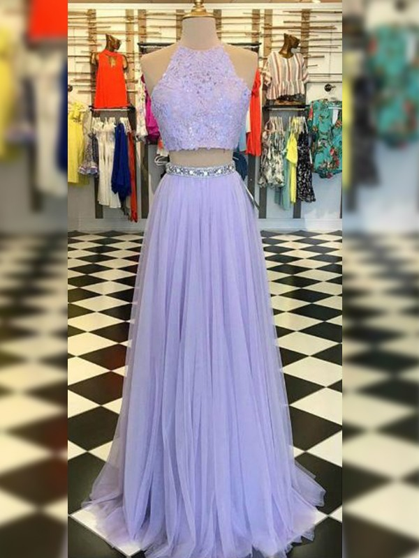 A-Line Tulle Lace Halter Floor-Length Two Piece Lavender Prom Dresses