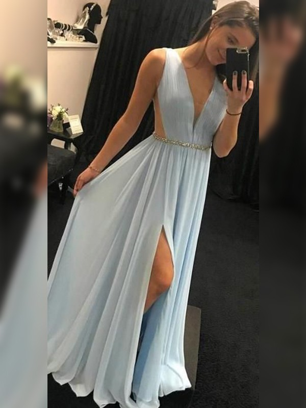 A-Line Chiffon V-neck Sleeveless Floor-Length Light Sky Blue Prom Dresses