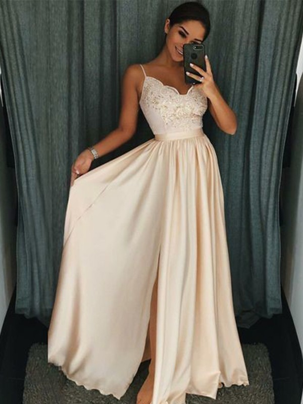 A-Line Spaghetti Straps Floor-Length Silk like Satin Prom Dresses