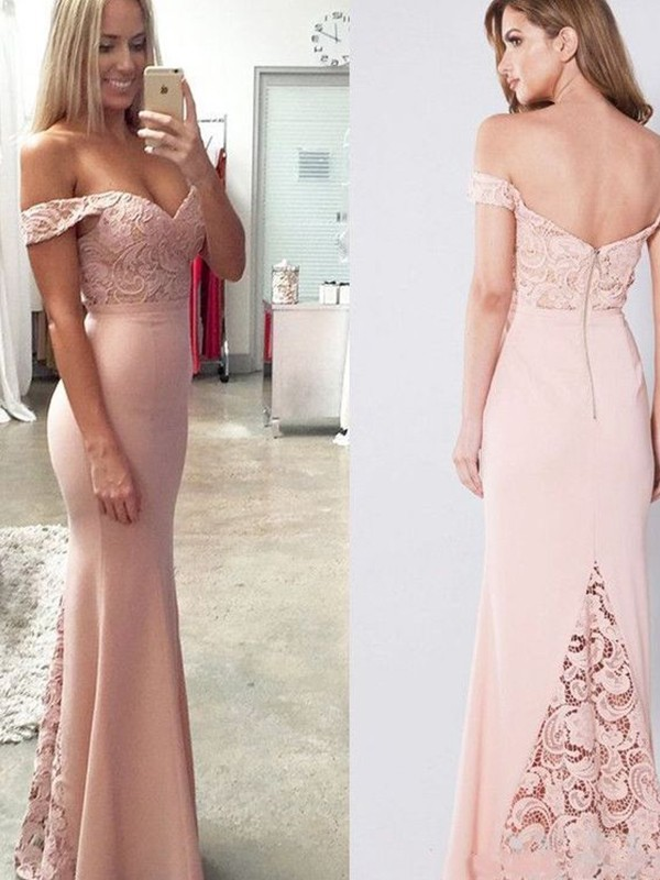 Sheath Pearl Pink Off-the-Shoulder Floor-Length Lace Spandex Evening Dresses