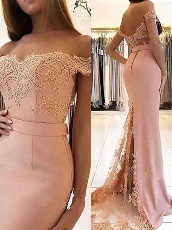 Off-the-Shoulder Sheath Spandex Pearl Pink Brush Train Applique Evening Dresses