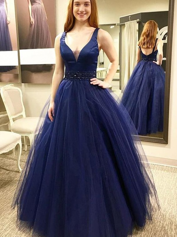 Ball Gown V-neck Dark Navy Floor-Length Beading Tulle Evening Dresses